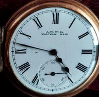 Antique Half Hunter Pocket Watch, Gold Plated, Waltham (8 of 11)
