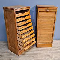 Pair of Oak Tambor Filing Cabinets