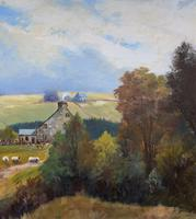 'Sheep In The Yorkshire Dales' - Original 1943 Vintage Landscape Oil Painting (7 of 12)