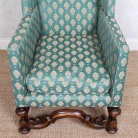 Lounge Chair Armchair Walnut Wingback Edwardian (7 of 12)