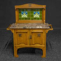 Arts & Crafts Oak Washstand with Marble Top (7 of 14)