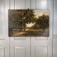 Antique Landscape Oil Painting of Deer in Richmond Park Signed JI Lewis (4 of 10)
