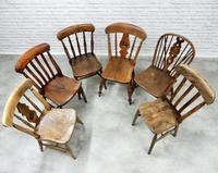 Interesting Harlequin Set of 6 Windsor Kitchen Chairs (3 of 6)
