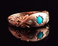 Antique Turquoise & Pearl Ring, 9ct Gold (2 of 11)
