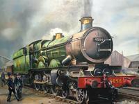 Oil Painting Railway Train Engine Princess Margaret 4056 With Figures Signed Ken Allsebrook (3 of 13)