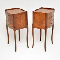 Pair of Antique French Inlaid Marquetry Bedside Tables (5 of 10)