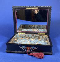 19th century French Ebony, Brass Lacquer & Red Tortoiseshell Jewellery Box (6 of 17)