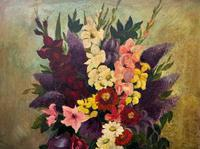 Large 19th Century French Farmhouse Impressionist Still Life Floral Oil Painting Signed (3 of 12)