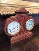 Top Quality Antique Inlaid Clock Barometer (3 of 10)