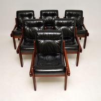 Rosewood & Leather Dining Table & Chairs Vintage 1970's (3 of 19)