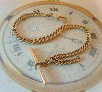 Antique Pocket Watch Chain 1890 Victorian 12ct Rose Rolled Gold Albert & T Bar (2 of 10)