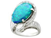5.08ct Opal & 2.49ct Diamond, Platinum Dress Ring c.1950 (4 of 9)