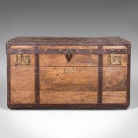 Large Antique Steamer Trunk, English, Pine, Travel, Shipping Chest, Victorian (3 of 12)