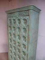 Handmade Indian Mango & Teak Large Painted Light Green 2 Door Storage Cupboard (2 of 11)