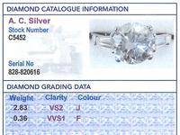 3.19ct Diamond & Platinum Solitaire Ring - Art Deco (6 of 9)