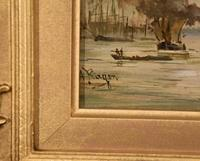 """Oil Painting by Adolphe Ragon """"on the Thames near Woolwich"""" (5 of 5)"""