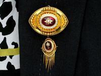 6.20ct Garnet, Pearl & Enamel, 18ct Yellow Gold Pendant / Brooch - Antique c.1880 (12 of 15)