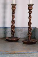 Pair of 1930's Oak Spiral Turned Candlesticks (2 of 11)