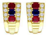 1.38ct Ruby & 0.65ct Sapphire, 0.64ct Diamond & 18ct Yellow Gold Earrings - Vintage c.1990
