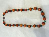 Antique Chinese Butterscotch Amber & Malachite Necklace - 42.3 grams