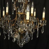 French Gilded Bronze Birdcage Crystal Chandelier (3 of 10)