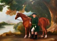 Lovely Large Primitive School Rococo Framed Oil Portrait Painting Horse & Rider (7 of 13)