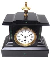 Amazing French Slate Mantel Clock Timepiece Mantle Clock with Machilite Inlay (9 of 11)