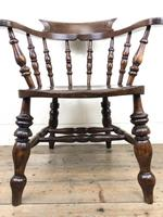 19th Century Ash and Elm Smoker's Bow Chair or Captain's Armchair (8 of 11)
