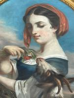 """19th Century Oval Pastel Painting French Neapolitan"""" Nubile Young Woman Feeding Goat Flowers"""" Attributed Fantin Latour Theodore (32 of 51)"""