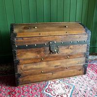 Antique Steamer Trunk Victorian Dome Top Chest Old Rustic Pine Blanket Box + Key (3 of 10)