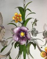 Vintage French 5 Arm Floral Toleware Chandelier (3 of 11)