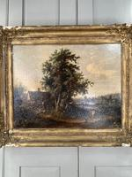 Antique Victorian Landscape Oil Painting of Inn with Figures (3 of 10)