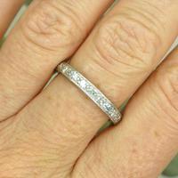 1920s Art Deco platinum diamond wedding band ~ full eternity ring 0.69ct ~ Size P 1/2 / 7.75 (5 of 9)