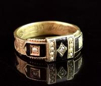 Victorian Diamond Mourning Ring, 15ct Gold, Black Enamel and Pearl, Hairwork