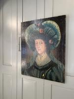Antique Spanish oil painting study of a society lady with bonnet (4 of 10)