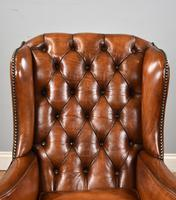 Victorian Hand Dyed Brown Leather Wing Back Armchair (7 of 13)