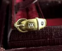 Victorian 18ct Gold Buckle Ring, Sapphire & Diamond (13 of 14)