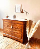 Flamed Mahogany Drawers / Louis Philippe Commode / Sideboard / Marble (2 of 9)