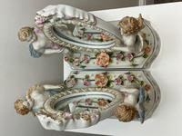 Pair of Small Dresden Victorian Style Porcelain Cherub Table Mirrors (32 of 60)