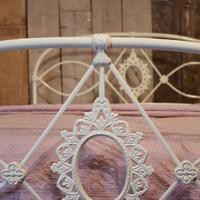 Mid Victorian Cast Iron Antique Bed in Cream (7 of 7)