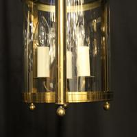French Gilded Pair of Convex Triple Light Lanterns c.1930 (4 of 10)