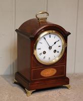 Small Mahogany & Inlay Mantel Clock (6 of 12)