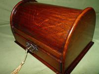 Compact Figured Oak Roll Top Stationery Box. c1900 (13 of 14)