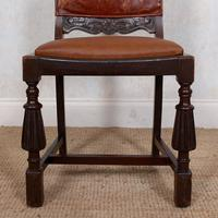 4 Carved Oak Leather Dining Chairs (9 of 12)