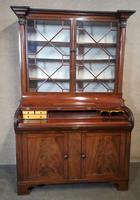 19th Century Figured Mahogany Cylinder Bureau Bookcase (5 of 12)