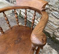 Antique Elm Captains Chair Smokers Bow (11 of 13)