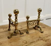 Very Attractive Pair of Brass Andirons (5 of 5)