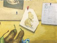 Original Watercolour 'Still-life of Pears, Fennel and Teddy Bear by Colleen Farr (3 of 6)
