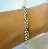 "Vintage Silver 925 Popcorn Bracelet 1970s Big Shepherds Hook Clasp 7 3/4"" Length (11 of 11)"