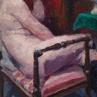Oswald Poreau, Seated Nude In Leather Boots, Oil Painting (7 of 8)